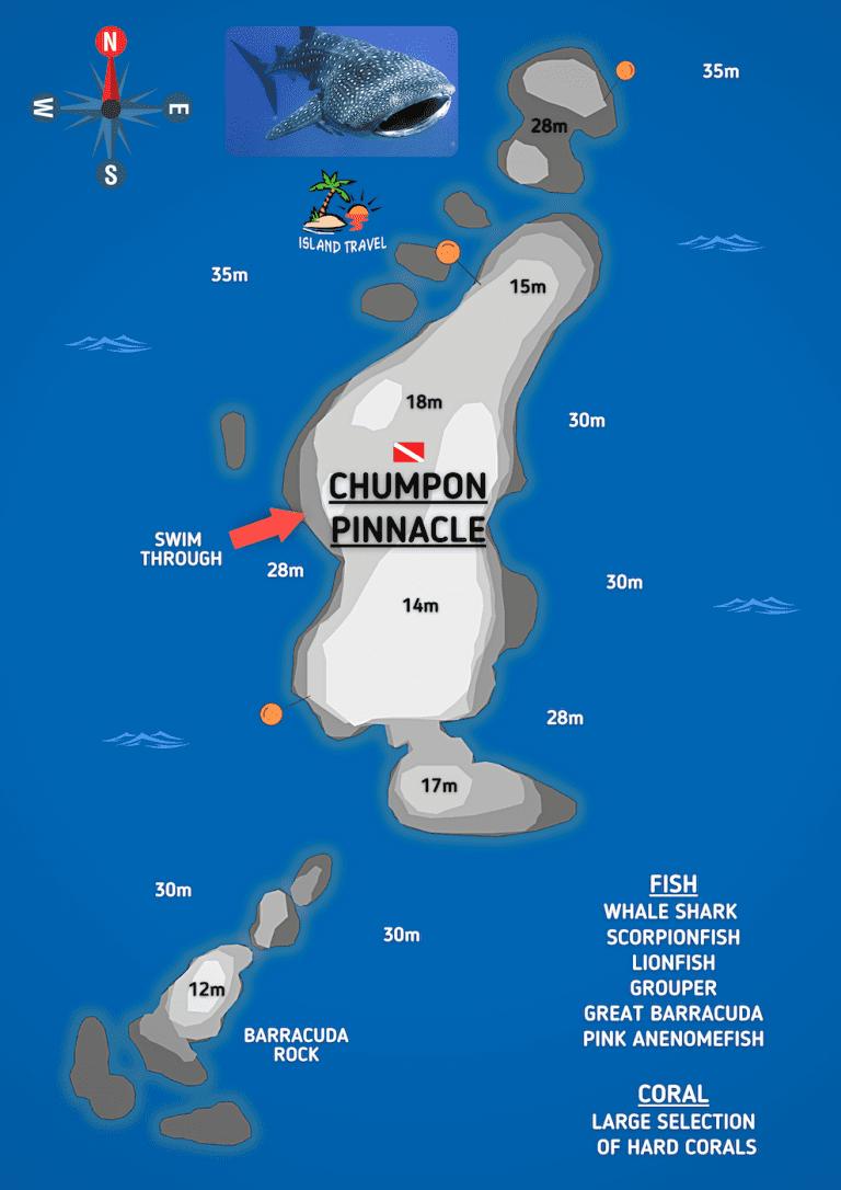 Koh Tao Dive Map - Chumphon Pinnacle
