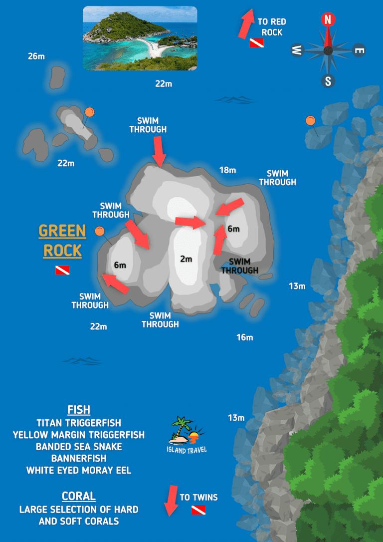 Koh Tao Dive Map - Green Rock Dive Site Koh Tao
