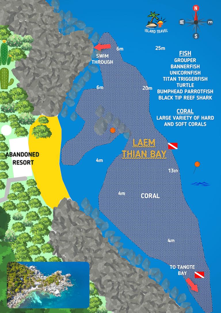 Koh Tao Dive Maps - Laem Thian