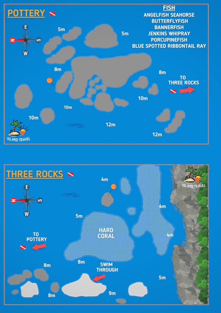 Koh Tao Dive Map - Pottery and Three Rocks