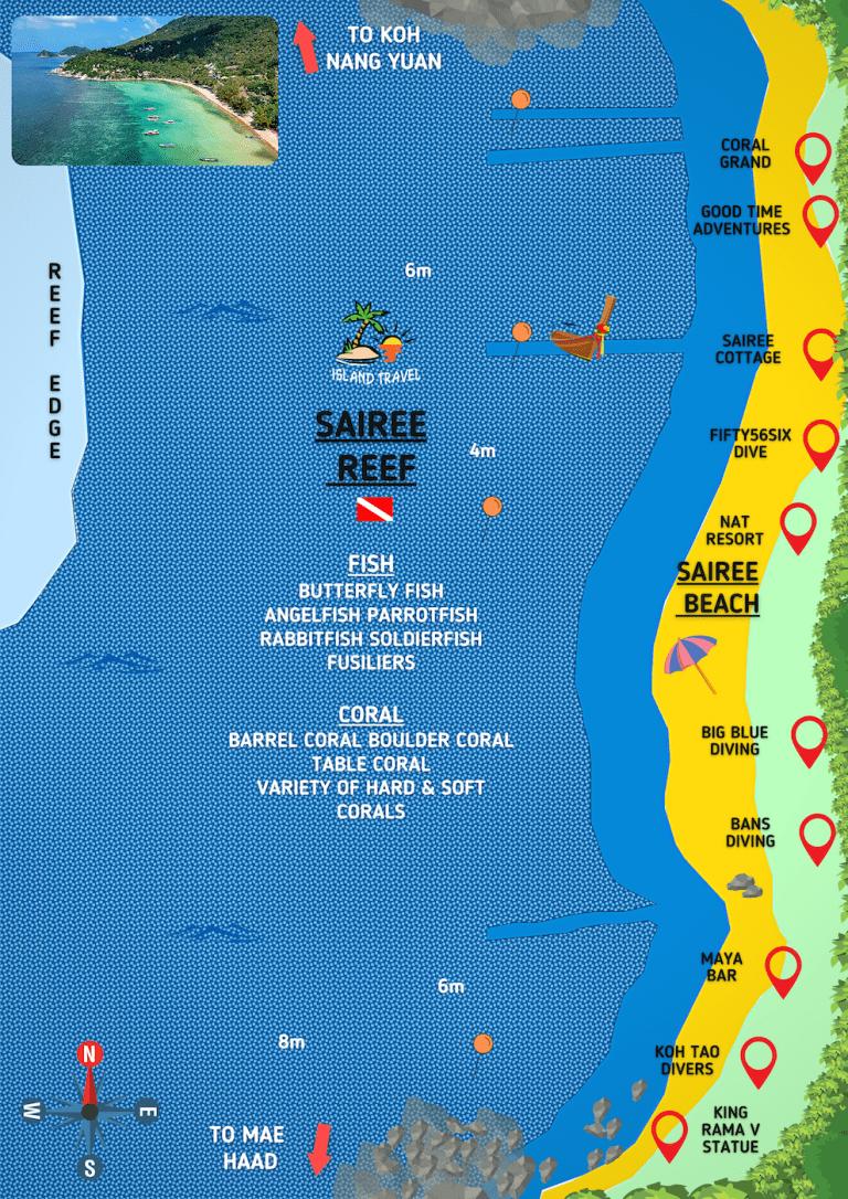 Koh Tao Dive Map - Sairee Reef