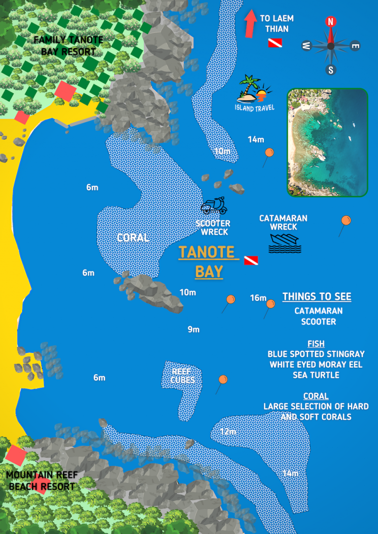 Koh Tao Dive Map - Tanote Bay